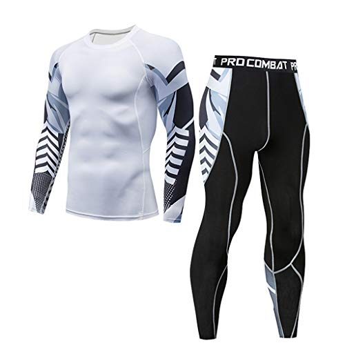 ☀NnuoeN☀ 2 Pezzi Fitness Palestra Completi Sportivi da Uomo Abbigliamento Sportivo Compressivo Maglie e T-Shirt Pantaloni Collant a Compressione Vestiti Asciugatura R