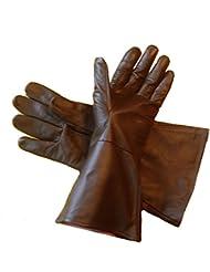 Leather Gauntlet Gloves DARK BROWN LARGE Long Arm Cuff