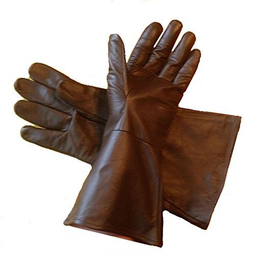 Leather Mystics Leder Stulpenhandschuhe Dunkelbraun klein lang Arm (501st Kostüm)