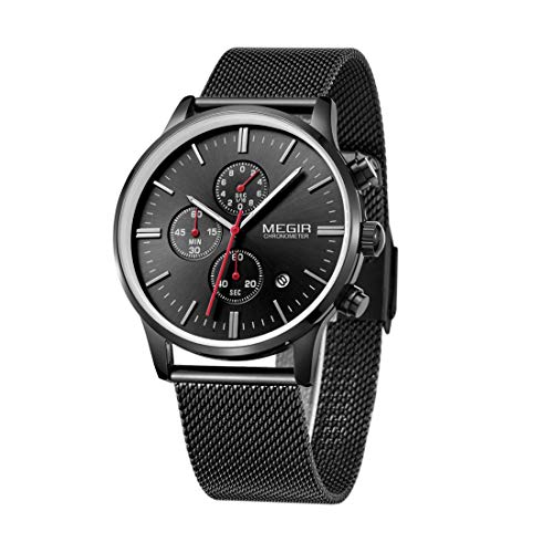 ZYWTZ Schwarz Herrenuhr mit Edelstahl-Maschenband Herren Sportuhr Geschäft Wasserdicht Lässige Quartz Luminous Watch für den Mann