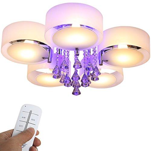 Preisvergleich Produktbild Yorbay LED Kristall Deckenleuchte Deckenlampe E27,  RBP Licht mit Fernbedienung für Wohnzimmer,  Esszimmer (5-flammig)