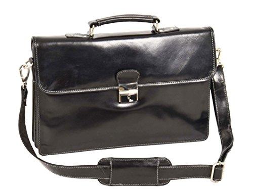 Schlank Echtes Leder Aktenkoffer Schulter Kreuz Körper Organizer Exekutive Geschäft Tasche Lucca Schwarz (Bag Attache Über Klappe)