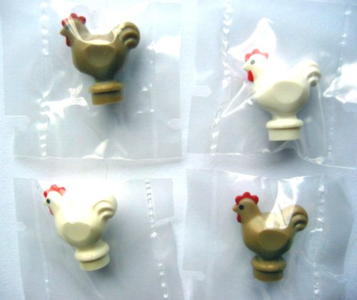 LEGO City - 4 sehr seltene Hühner - je 2 in weiss und dunkel beige - Minifiguren Hahn und Henne - Huhn (Lego City Bauernhof-tiere)