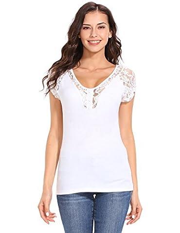 ISASSY Damen T Shirt Oberteile Mit Spitze Kurzarm Tops V-Ausschnitt