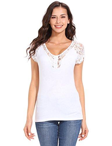ISASSY Damen T Shirt Oberteile Mit Spitze Kurzarm Tops V-Ausschnitt Bluse (Top Spitze V-ausschnitt)