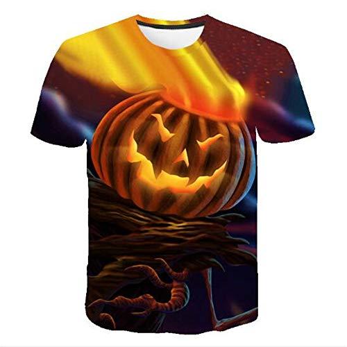Herren Neuheit T-Shirt 2019 Sommer Casual Kurzarm 3D Digital Gedruckt T Shirt Tops Premium,3D Halloween Kürbis Gelb 5XL