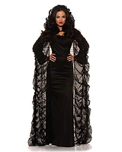 Horror-Shop Schwarzes Chiffon Cape mit Kapuze für Halloween Kostüme