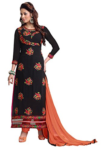 Blissta Black Georgette Embroidered Unstitched Partywear Churidar Dress Material