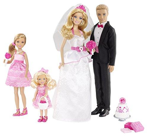Barbie Mattel BJR08 - Großes Hochzeits-Geschenkset inklusive 4 Puppen und Accessoires
