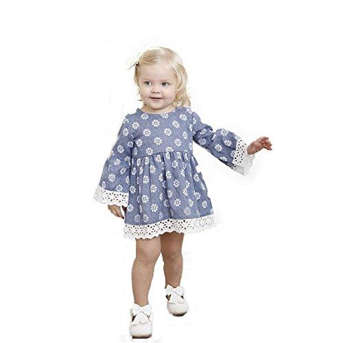 Eternali Kleid Mädchen Kleid Infant Kid Mädchen Spitze Blumendruck Blau Prinzessin Kleid Baumwolle Nette Kleidung Für 12 Monate-5 Jahre Alt Mädchen Kleid (Blau, 80)