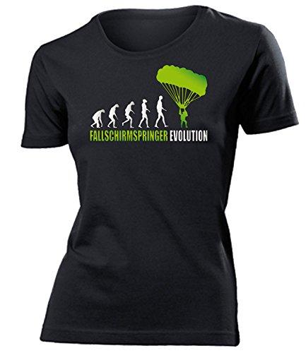 Fallschirmspringer Evolution 607 Tandem Sport Shirt Tshirt Fanartikel Fanshirt Frauen Sportbekleidung Damen T-Shirts Schwarz Aufdruck Grün L