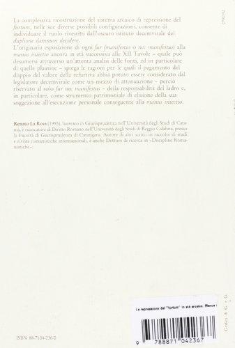 La repressione del «furtum» in età arcaica. Manus iniectio e duplione damnum decidere (Univ. Reggio Calabria)