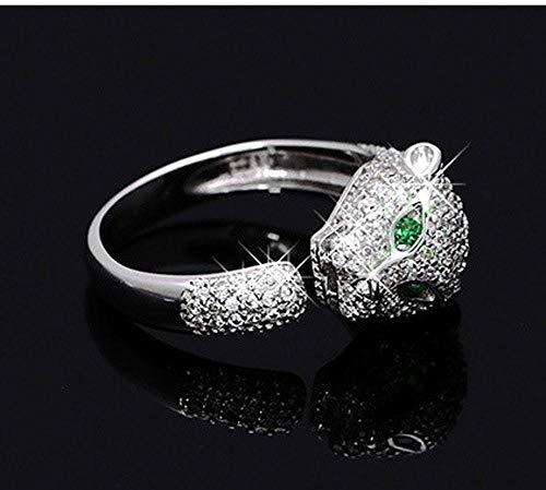 Laogg Einstellbar Ringe S925 Sterlingsilber Europa und den USA Mode Leopard Kopf Lady-Diamant-Ring bezieht Sich auf EIN Freund Geburtstag Abitur Geschenk Leopard-diamant