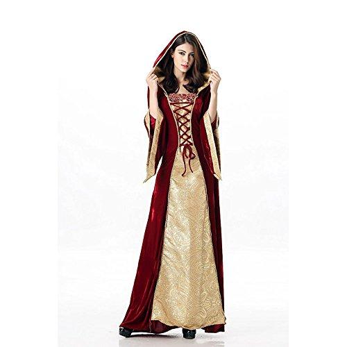 Mittelalterliches Burgfräulein Kostüm Rot/Gold in Deluxe-Ausführung Gr. XS/S Kleid - 3