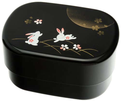 Kotobuki 2-Tier Autumn Rabbit Bento Box, Black by Kotobuki