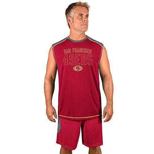 NFL San Francisco 49ers Erwachsene Herren NFL Plus S/Synthetik Muscle, 3x T, Storm grau/Kardinal rot -
