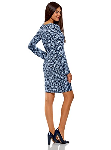 oodji Collection Damen Jerseykleid mit Gürtel Blau (7970O)