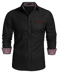 Coofandy Jeanshemden Herren regular fit Denim Shirt Langarmhemd Cowboy-Style Freizeit Hemden , Farbe - Schwarz , Gr. XXL