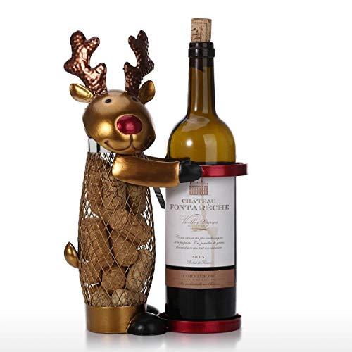 prbll Ornamente Netted Weihnachten Rentier Weinregal Tier Wein Halter Kork Container Praktische Handwerk Für Weihnachten Dekoration