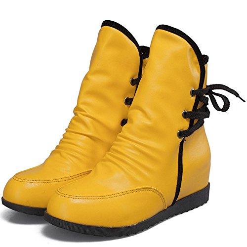 COOLCEPT Femmes Courte Bottines Talon Compense Interieur Slouch Bottes yellow