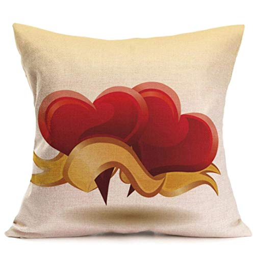 Hectwya Throw Pillow Cases Cafe Sofa Cushion Cover Valentine's Day Pillow Cover Home Decor,18x18 inch (J)