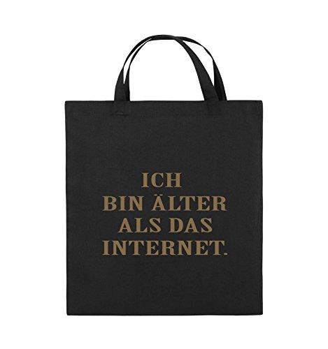Comedy Bags - ICH BIN ÄLTER ALS DAS INTERNET - Jutebeutel - kurze Henkel - 38x42cm - Farbe: Schwarz / Pink Schwarz / Hellbraun