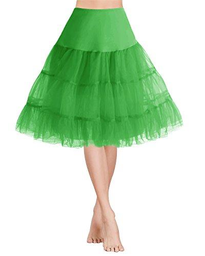 tage Rockabilly Kurz Organza Petticoat Reifrock Unterrock Underskirt Ballet Tanz Kleid Green M (Tutu Kleid Für Frauen)