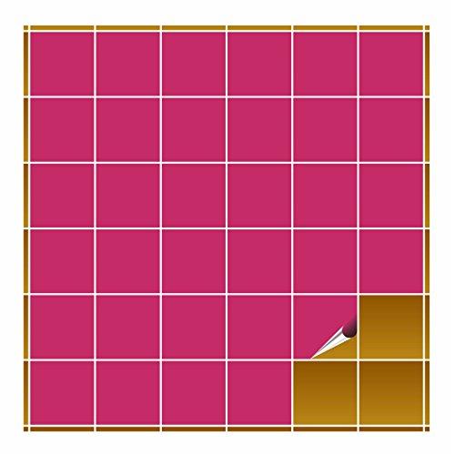 FoLIESEN Fliesenaufkleber für Bad und Küche - 10x10 cm - pink glänzend - 20 Fliesensticker für Wandfliesen