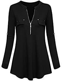 TEBAISE Herbst Räumungsverkauf Mode Lässig Frauen Büro Formale Elegante Schlanke Tasche V-Ausschnitt Langarm Roll-up Sleeve Zipper Shirt Bluse Tops Jumper