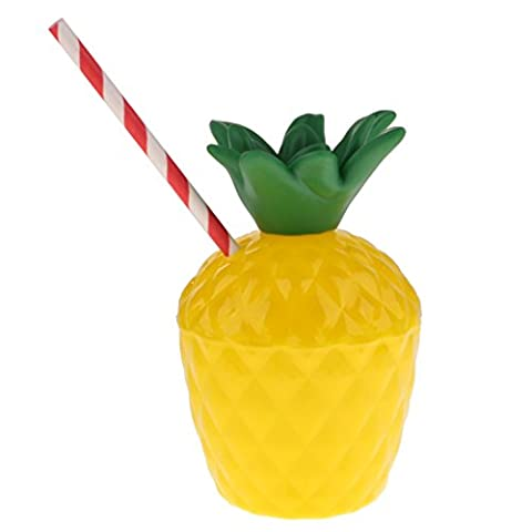 MagiDeal Kokosnuss Ananas Trinkflasche Becher für Aloha Hula Hawaii Beachparty - Ananas, 14 cm