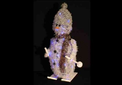 1.5 Metre Giant Skiing Rattan Snowman With Blue LED Lights - Christmas Decoration