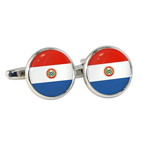Paraguay Flagge Elegant Rund eingefasst Manschettenknöpfe in Geschenkbox