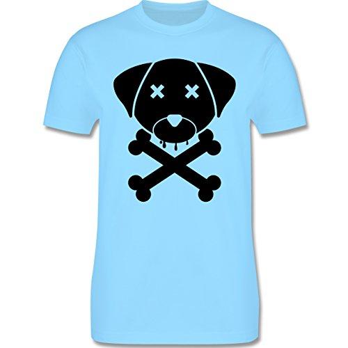 Hunde - Hund Skull - Herren Premium T-Shirt Hellblau