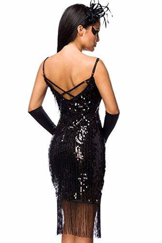 Robe longue à paillettes longueur genoux noir élégant avec franges Noir - Noir