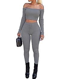 78a58006223c Homebaby Tuta da Ginnastica Donna Elegante 2Pcs Tute Felpa + Pantaloni  Leggings Set Vintage Ragazze Pullover