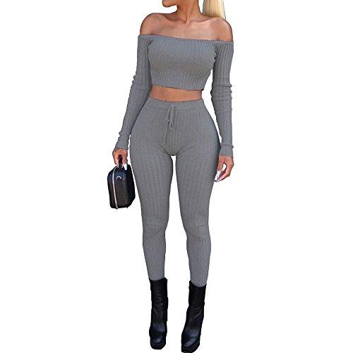 Cramberdy ❀Damen Sportanzug,Damen Mode Schulterfrei Zwei-Teilig Trainingsanzug Sweatjacke Freizeitanzug Sweatshirt Sports Obenteile Mode Hose Langarm Einfarbig Casual Hausanzug Damen