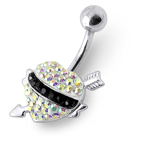 Bijou de Corps anneau de nombril en argent motif coeur flèche en pierres Rainbow