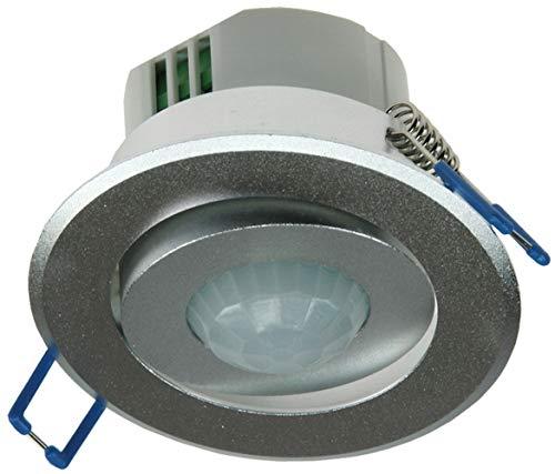 Decken-Einbau-Bewegungsmelder 360° aus Aluminium für mehr Sicherheit, Komfort, Energieeffizienz, Überwachung. LED geeignet, 6m, schwenkbar, Unterputz, Silber, IP 20 -