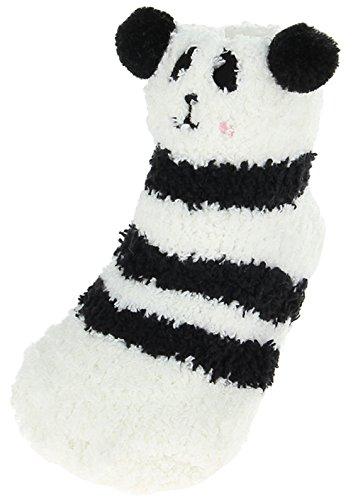 EOZY 3D Chaussette Antidérapant Bébé Fille Garçon Chausson Blanc Panda