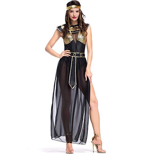 WEGCJU Ägyptische Göttin Bühne Kostüm Leistung Kleidung Halloween Alten ägyptischen Mythologie Rollenspiel Film Requisiten,Black-XL