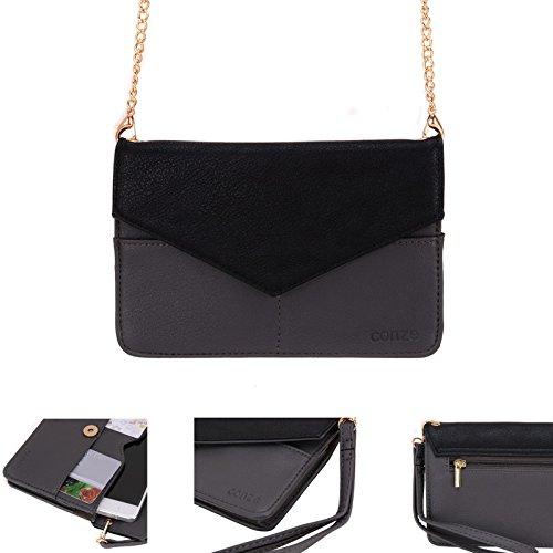 conze de femmes d'embrayage portefeuille tout ce sac avec bretelles pour Smart Téléphone pour Samsung Galaxy Ace 3/4/II X/NXT/style gris gris