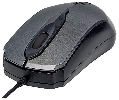 Manhattan 179423 Edge USB-Maus (optisch, kabelgebunden, drei Tasten, Mausrad, 1000 dpi) anthrazit -