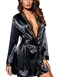 TUDUZ Women Luxury Silk Kimono Dressing Gowns Ladies Lightweight Babydoll  Nightwear Soft   Cosy Lace Lingerie fbefd128d