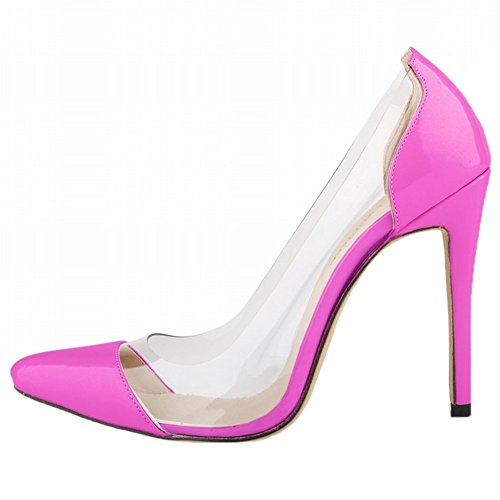 HooH Femmes Transparent Splicing Pointu Stiletto Escarpins Rose Rouge