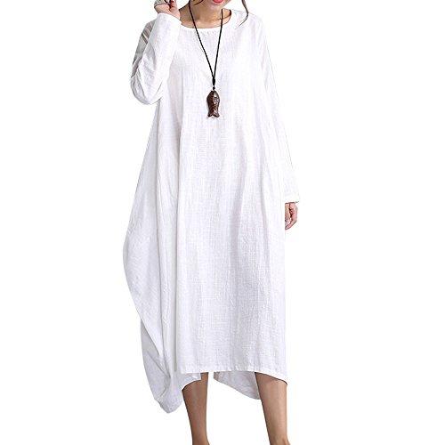 Dihope Damen Leinen T-Shirt Kleid Casual A-Linie Minikleid Loose Freizeit Kleid (Kleid T-shirt Leinen)