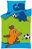 Aminata Kids - Lizenz Kinder-Bettwäsche Sendung mit der Maus 100x135 cm Baumwolle Bettwäsche kleiner blauer Elefant hellblau mit Fussball