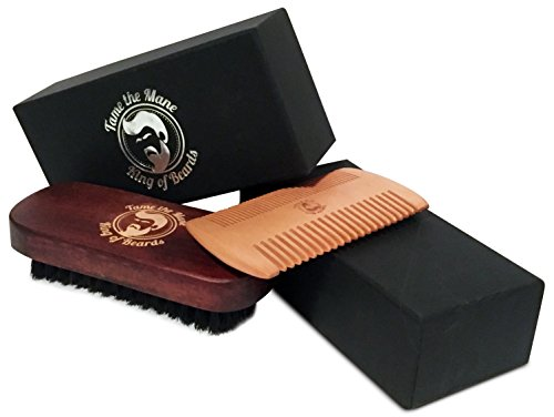 tame-the-mane-hardwood-beard-brush-with-100-boar-bristle-and-double-sided-beard-comb-gift-set-excell