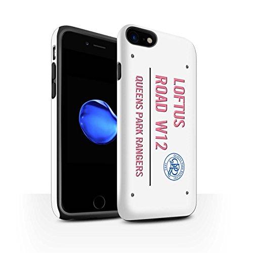 Officiel Queens Park Rangers FC Coque / Brillant Robuste Antichoc Etui pour Apple iPhone 7 / Noir/Bleu Design / QPR Loftus Road Signe Collection Blanc/Rose