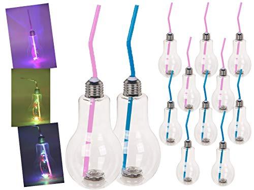 Bada Bing 12er Set LED Trinkglas Glühbirne Mit Deckel Und Strohhalm Ca. 400 ml Farbwechselnde Lichter Party Glas Beleuchtet Blinkend Trinkbecher Cocktailglas 39