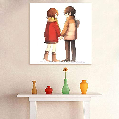 Yangll Digitale Malen Nach Zahlen Boku Dake Ga Inai Machi DIY Digitale Malerei Japan Stil Cartoon DIY Ölgemälde Geschenk Für Liebhaber, Kein Rahmen 40X40 cm